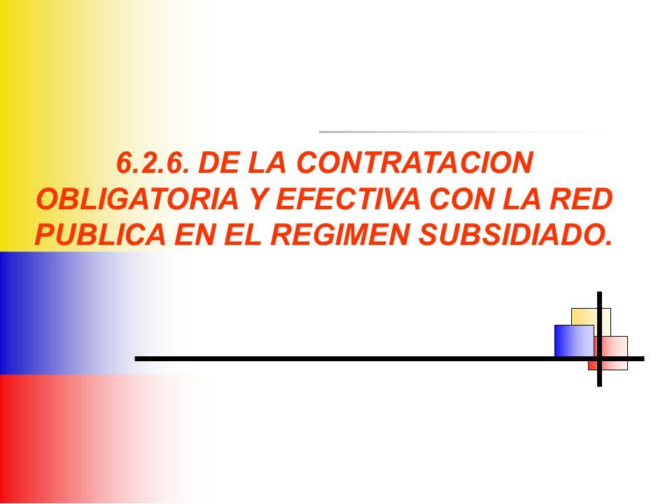 6.2.6. DE LA CONTRATACION OBLIGATORIA Y EFECTIVA CON LA RED PUBLICA EN EL REGIMEN SUBSIDIADO.