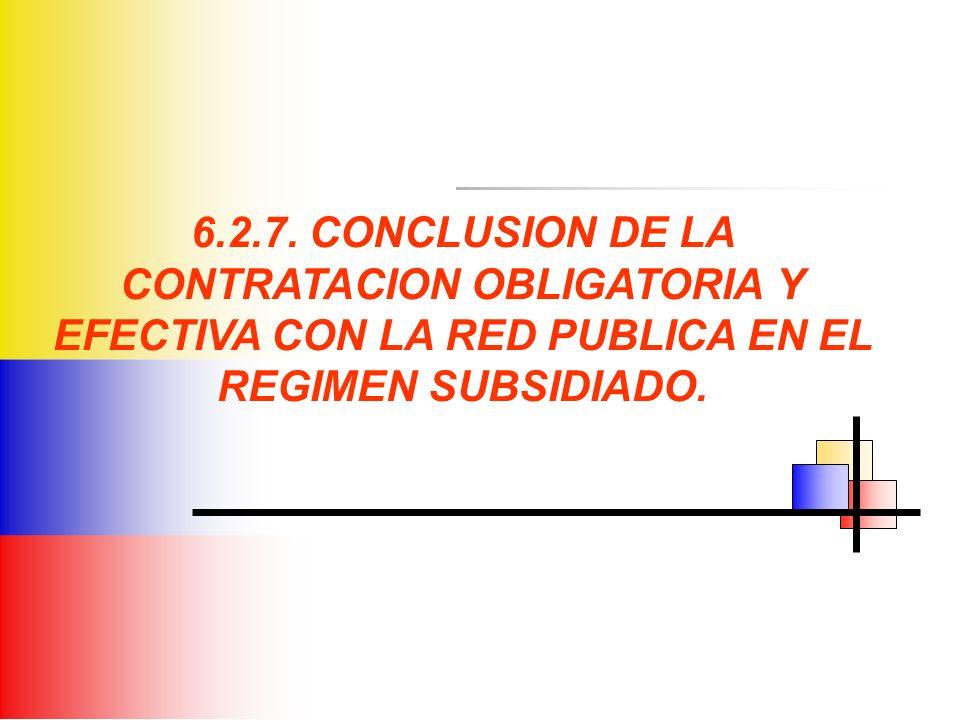 6.2.7. CONCLUSION DE LA CONTRATACION OBLIGATORIA Y EFECTIVA CON LA RED PUBLICA EN EL REGIMEN SUBSIDIADO.