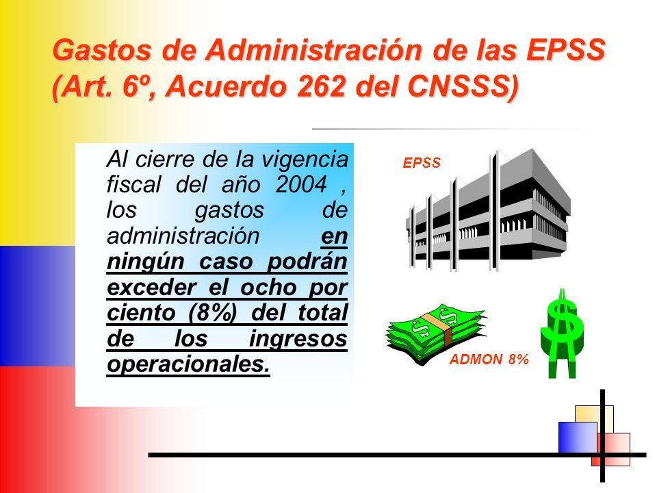 Gastos de Administración de las EPSS (Art. 6º, Acuerdo 262 del CNSSS) Al cierre de la vigencia fiscal del año 2004, los gastos de administración en ni