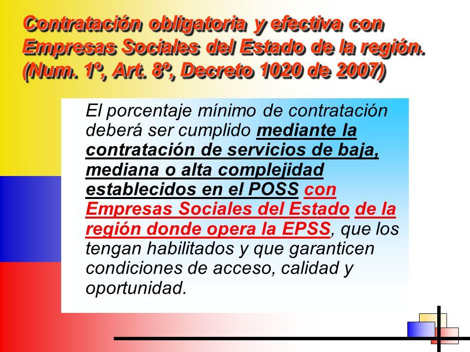 Contratación obligatoria y efectiva con Empresas Sociales del Estado de la región. (Num. 1º, Art. 8º, Decreto 1020 de 2007) El porcentaje mínimo de co
