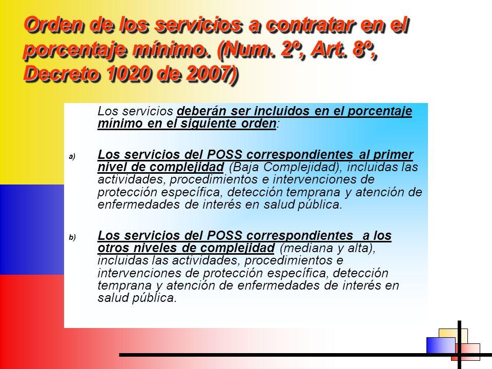 Orden de los servicios a contratar en el porcentaje mínimo. (Num. 2º, Art. 8º, Decreto 1020 de 2007) Los servicios deberán ser incluidos en el porcent