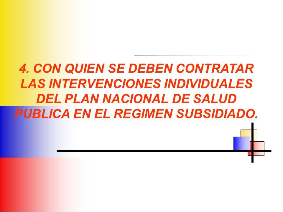 4. CON QUIEN SE DEBEN CONTRATAR LAS INTERVENCIONES INDIVIDUALES DEL PLAN NACIONAL DE SALUD PUBLICA EN EL REGIMEN SUBSIDIADO.