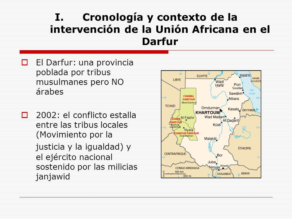 I.Cronología y contexto de la intervención de la Unión Africana en el Darfur El Darfur: una provincia poblada por tribus musulmanes pero NO árabes 200