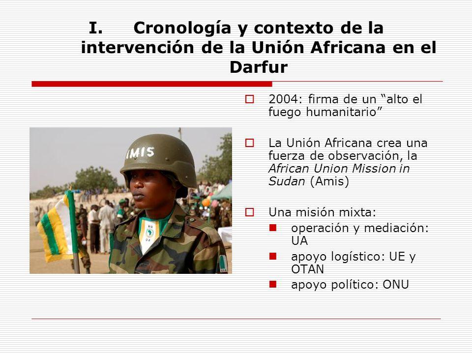 I.Cronología y contexto de la intervención de la Unión Africana en el Darfur 2004: firma de un alto el fuego humanitario La Unión Africana crea una fu