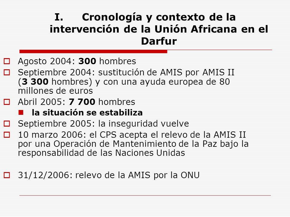 I.Cronología y contexto de la intervención de la Unión Africana en el Darfur Agosto 2004: 300 hombres Septiembre 2004: sustitución de AMIS por AMIS II