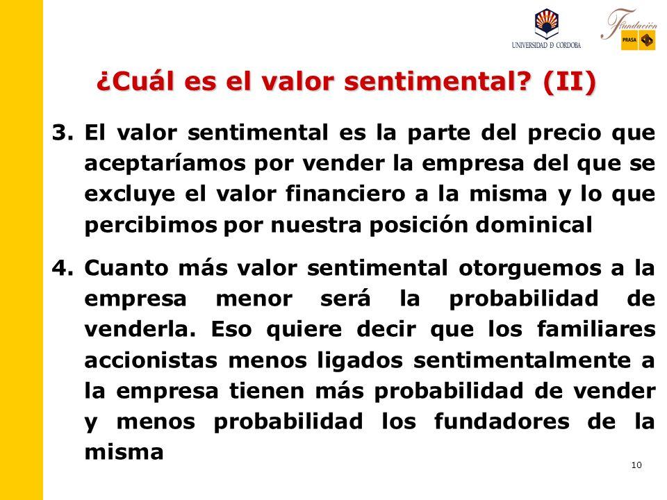 10 ¿Cuál es el valor sentimental.(II) 3.