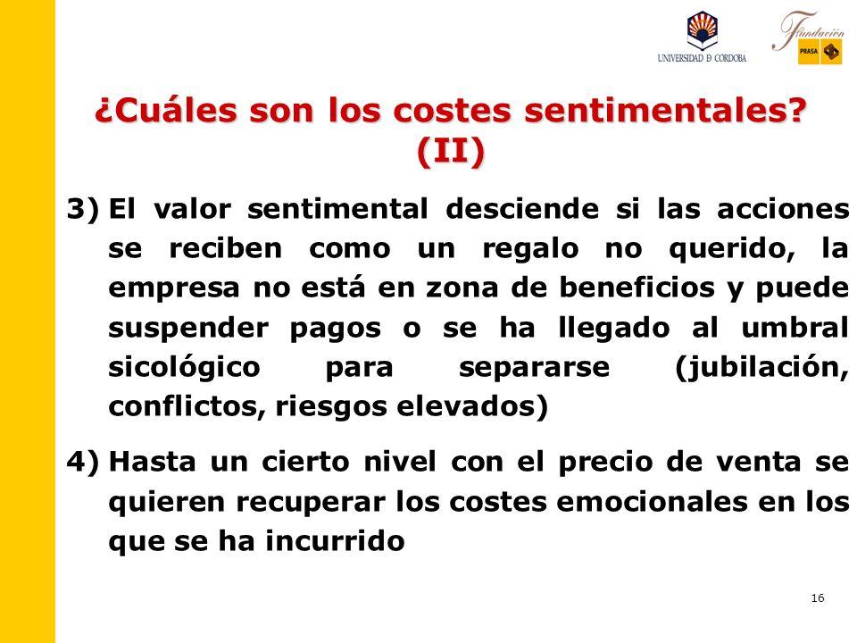 15 ¿Cuáles son los costes sentimentales? 1) 1)Los accionistas mayoritarios familiares tienen una barrera emocional de salida o de separación muy eleva