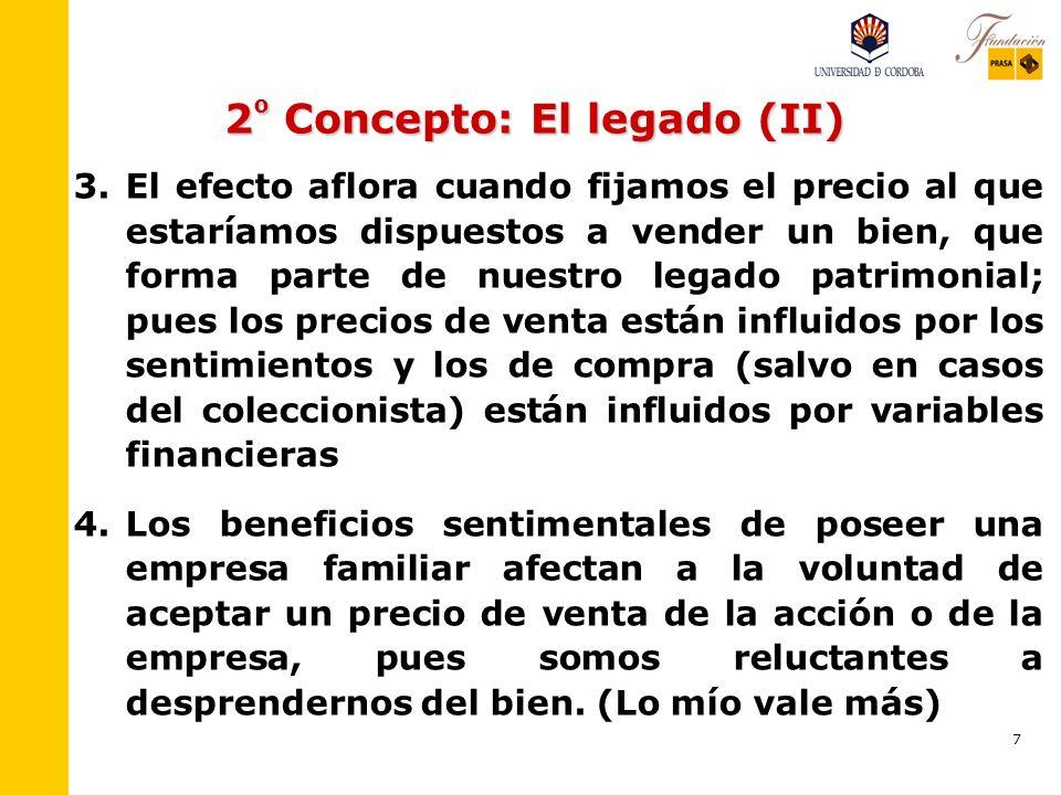 6 2 º Concepto: El legado 1. 1.Los activos que forman parte del patrimonio, como legado, de cada uno de nosotros se valoran mucho más que los que no f