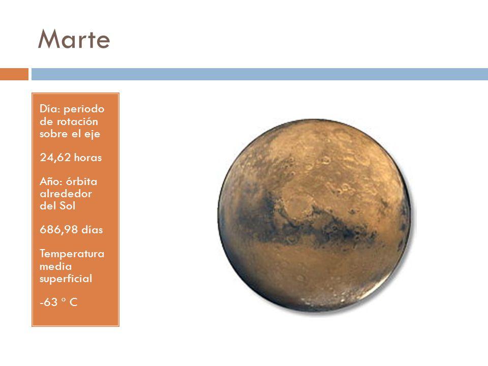 Marte Día: periodo de rotación sobre el eje 24,62 horas Año: órbita alrededor del Sol 686,98 días Temperatura media superficial -63 º C