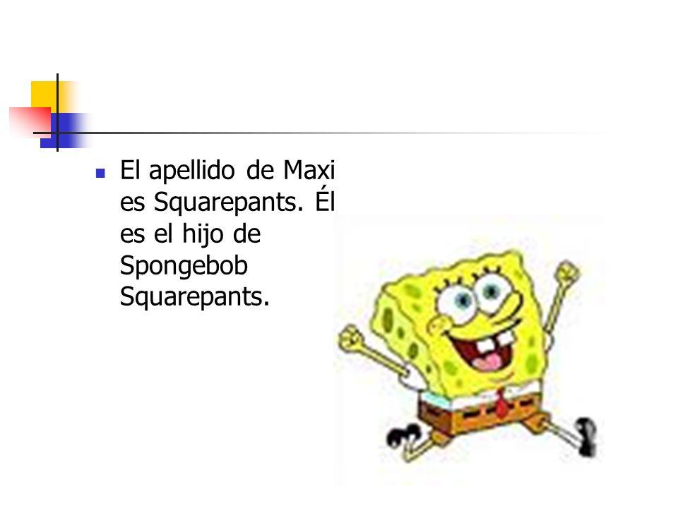El apellido de Maxi es Squarepants. Él es el hijo de Spongebob Squarepants.