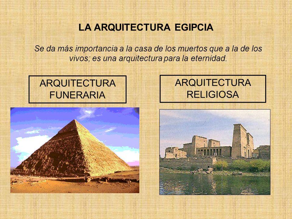 LA ARQUITECTURA EGIPCIA ARQUITECTURA FUNERARIA ARQUITECTURA RELIGIOSA Se da más importancia a la casa de los muertos que a la de los vivos; es una arq