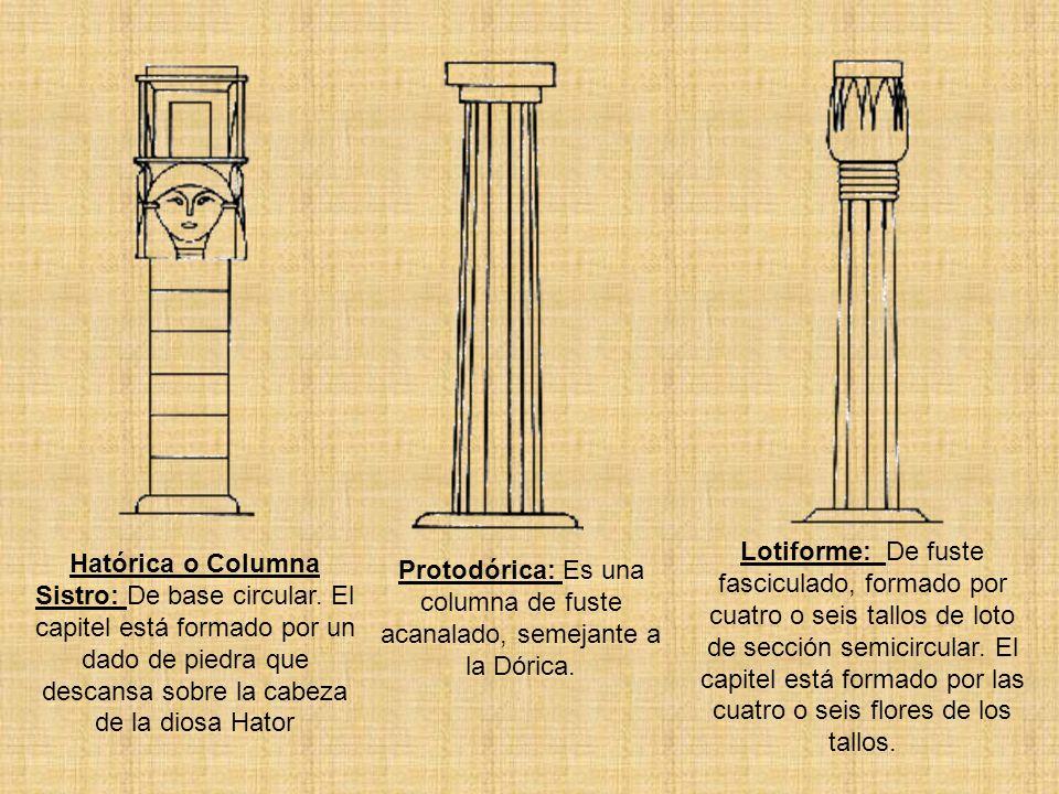 Lotiforme: De fuste fasciculado, formado por cuatro o seis tallos de loto de sección semicircular. El capitel está formado por las cuatro o seis flore