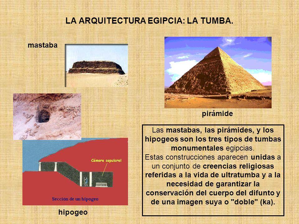 LA ARQUITECTURA EGIPCIA: LA TUMBA. Las mastabas, las pirámides, y los hipogeos son los tres tipos de tumbas monumentales egipcias. Estas construccione