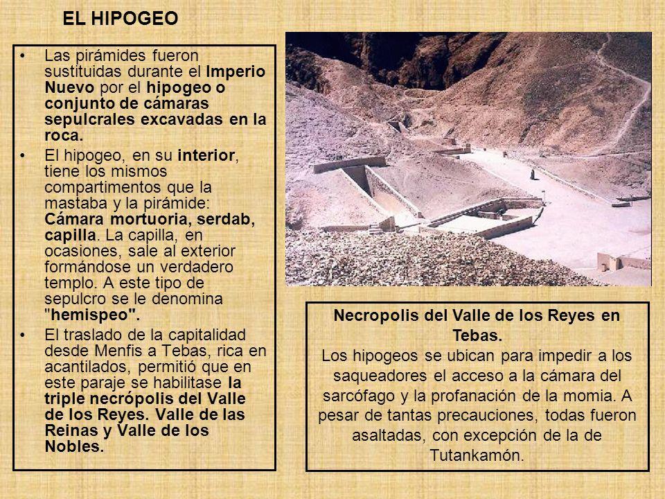 EL HIPOGEO Las pirámides fueron sustituidas durante el Imperio Nuevo por el hipogeo o conjunto de cámaras sepulcrales excavadas en la roca. El hipogeo