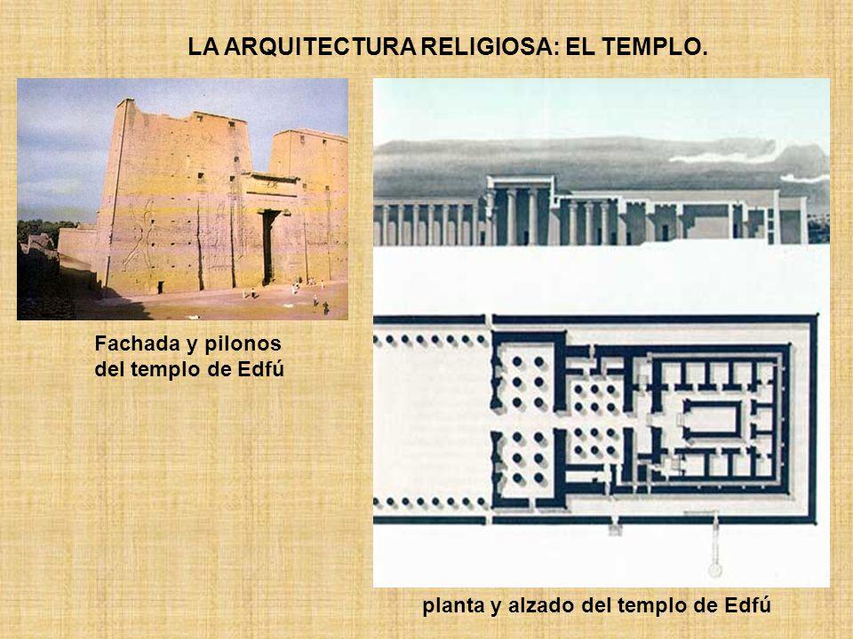 LA ARQUITECTURA RELIGIOSA: EL TEMPLO. Fachada y pilonos del templo de Edfú planta y alzado del templo de Edfú