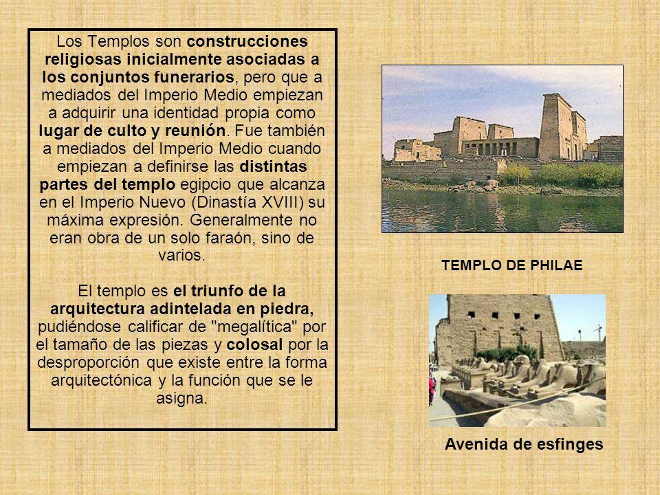 Los Templos son construcciones religiosas inicialmente asociadas a los conjuntos funerarios, pero que a mediados del Imperio Medio empiezan a adquirir