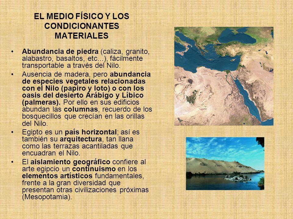 EL MEDIO FÍSICO Y LOS CONDICIONANTES MATERIALES Abundancia de piedra (caliza, granito, alabastro, basaltos, etc...), fácilmente transportable a través