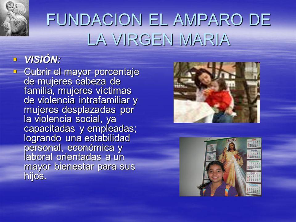FUNDACION EL AMPARO DE LA VIRGEN MARIA VISIÓN: VISIÓN: Cubrir el mayor porcentaje de mujeres cabeza de familia, mujeres víctimas de violencia intrafam