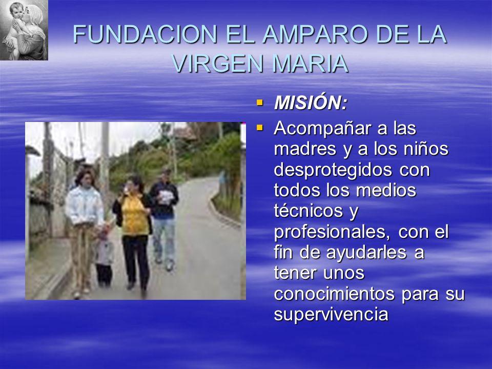 FUNDACION EL AMPARO DE LA VIRGEN MARIA MISIÓN: MISIÓN: Acompañar a las madres y a los niños desprotegidos con todos los medios técnicos y profesionale