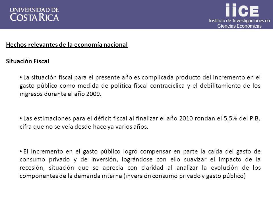 Instituto de Investigaciones en Ciencias Económicas Hechos relevantes de la economía nacional Situación Fiscal La situación fiscal para el presente año es complicada producto del incremento en el gasto público como medida de política fiscal contracíclica y el debilitamiento de los ingresos durante el año 2009.