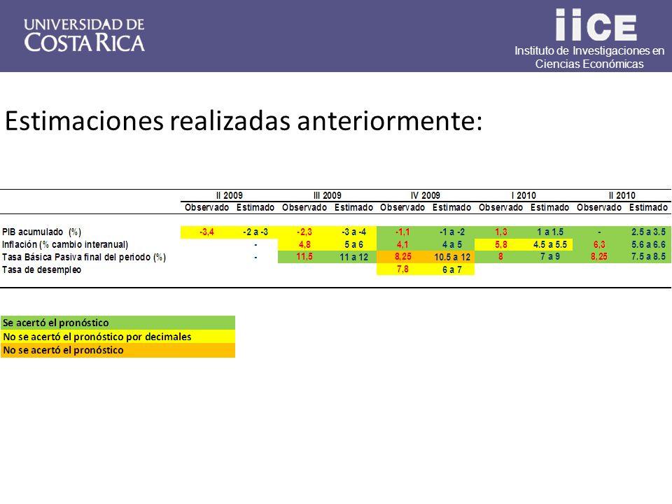 Instituto de Investigaciones en Ciencias Económicas Estimaciones realizadas anteriormente:
