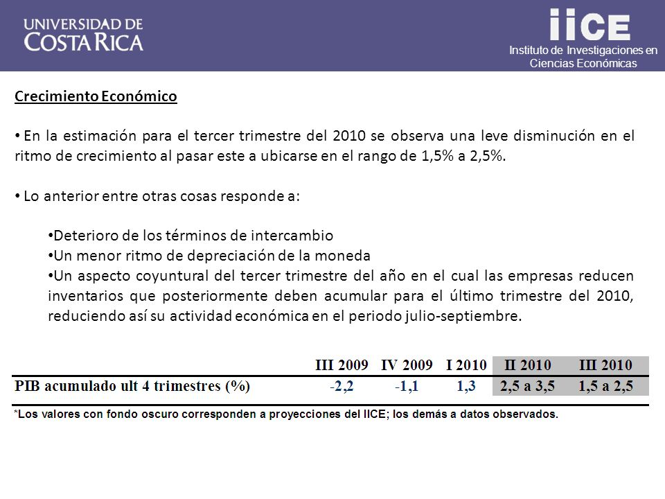 Instituto de Investigaciones en Ciencias Económicas Crecimiento Económico En la estimación para el tercer trimestre del 2010 se observa una leve disminución en el ritmo de crecimiento al pasar este a ubicarse en el rango de 1,5% a 2,5%.