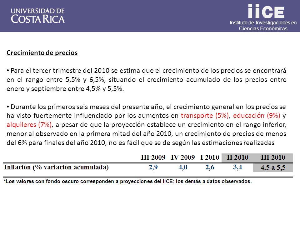 Instituto de Investigaciones en Ciencias Económicas Crecimiento de precios Para el tercer trimestre del 2010 se estima que el crecimiento de los precios se encontrará en el rango entre 5,5% y 6,5%, situando el crecimiento acumulado de los precios entre enero y septiembre entre 4,5% y 5,5%.