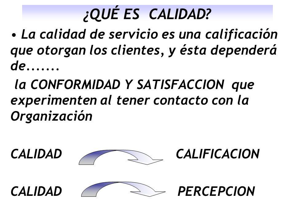 ¿QUÉ ES CALIDAD? La calidad de servicio es una calificación que otorgan los clientes, y ésta dependerá de....... la CONFORMIDAD Y SATISFACCION que exp