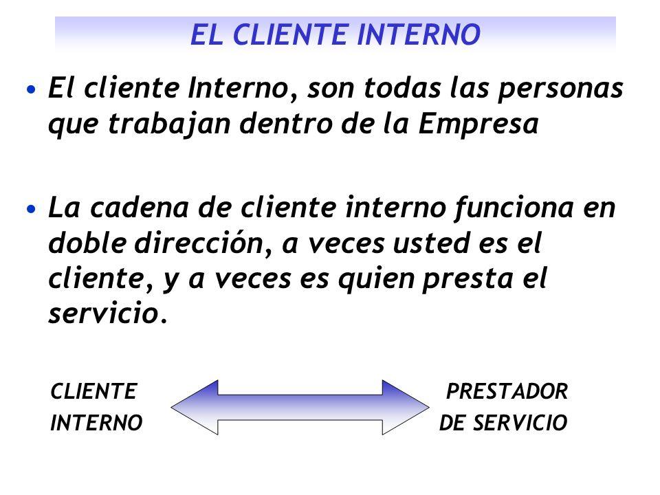 EL CLIENTE INTERNO El cliente Interno, son todas las personas que trabajan dentro de la Empresa La cadena de cliente interno funciona en doble direcci