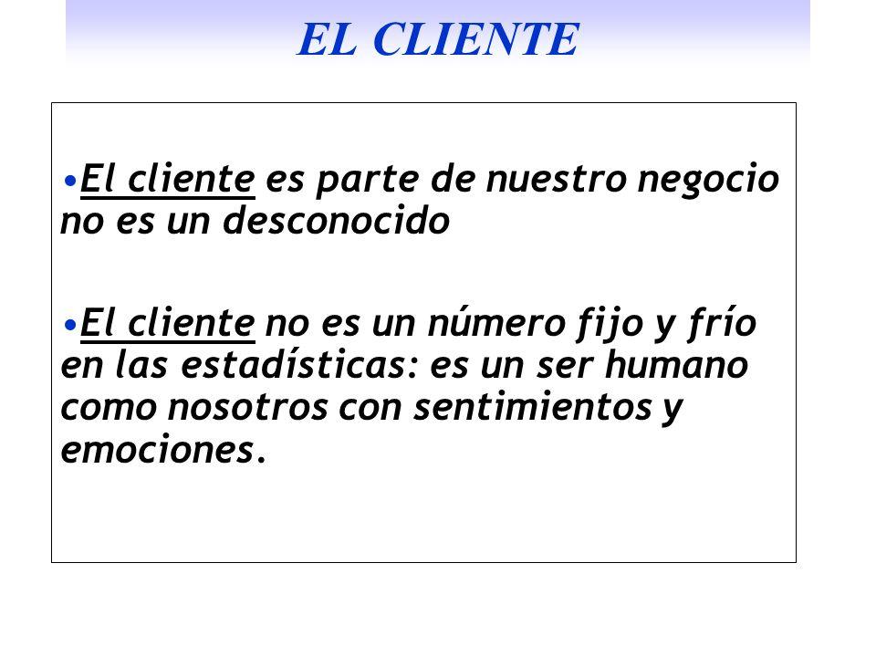 EL CLIENTE El cliente es parte de nuestro negocio no es un desconocido El cliente no es un número fijo y frío en las estadísticas: es un ser humano co