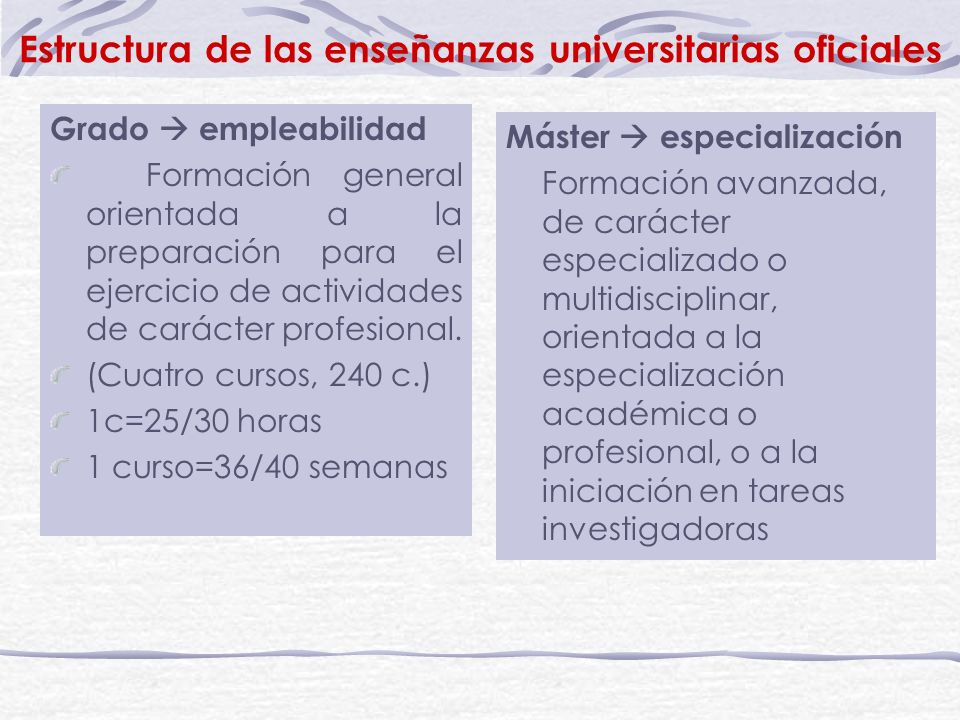 Estructura de las enseñanzas universitarias oficiales Grado empleabilidad Formación general orientada a la preparación para el ejercicio de actividades de carácter profesional.
