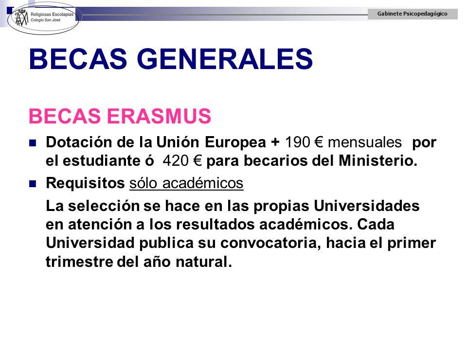 Gabinete Psicopedagógico BECAS GENERALES BECAS ERASMUS Dotación de la Unión Europea + 190 mensuales por el estudiante ó 420 para becarios del Minister