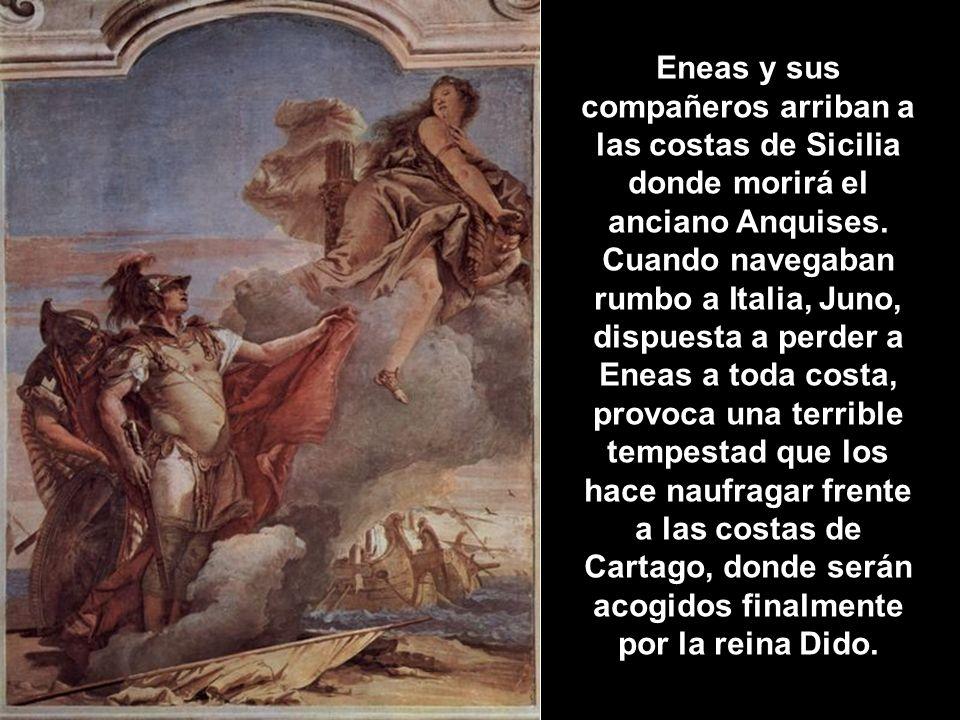 Eneas y sus compañeros arriban a las costas de Sicilia donde morirá el anciano Anquises. Cuando navegaban rumbo a Italia, Juno, dispuesta a perder a E