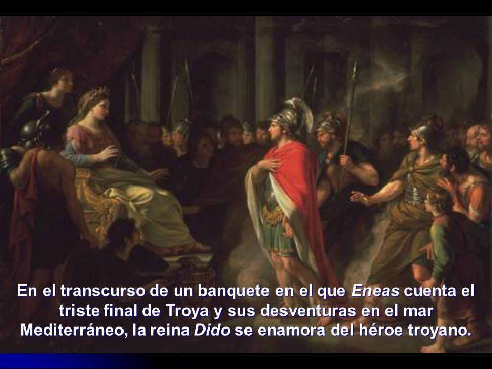 En el transcurso de un banquete en el que Eneas cuenta el triste final de Troya y sus desventuras en el mar Mediterráneo, la reina Dido se enamora del