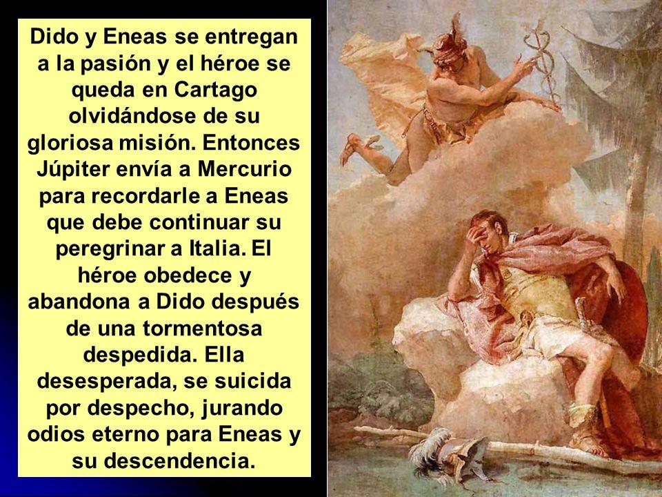 Dido y Eneas se entregan a la pasión y el héroe se queda en Cartago olvidándose de su gloriosa misión. Entonces Júpiter envía a Mercurio para recordar