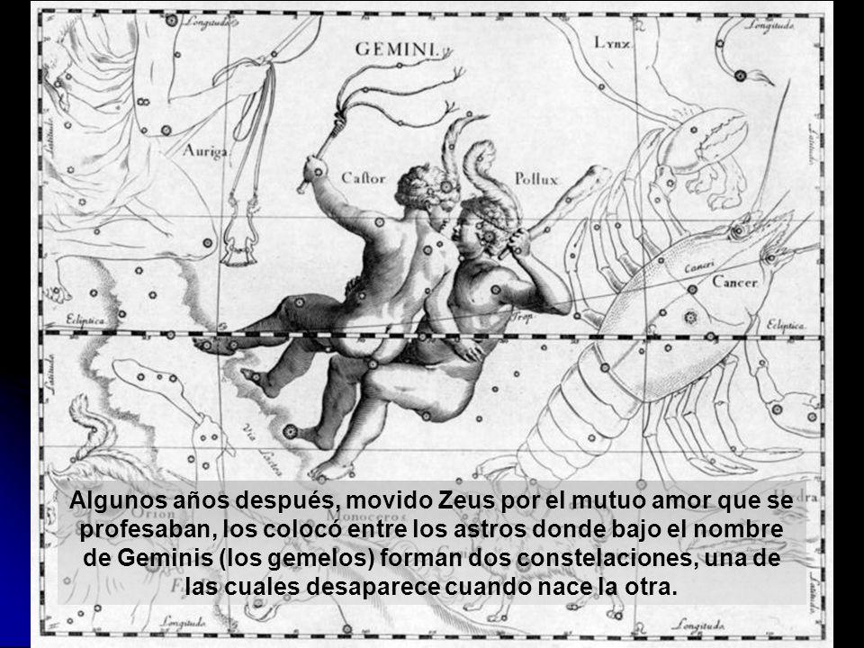 Algunos años después, movido Zeus por el mutuo amor que se profesaban, los colocó entre los astros donde bajo el nombre de Geminis (los gemelos) forma