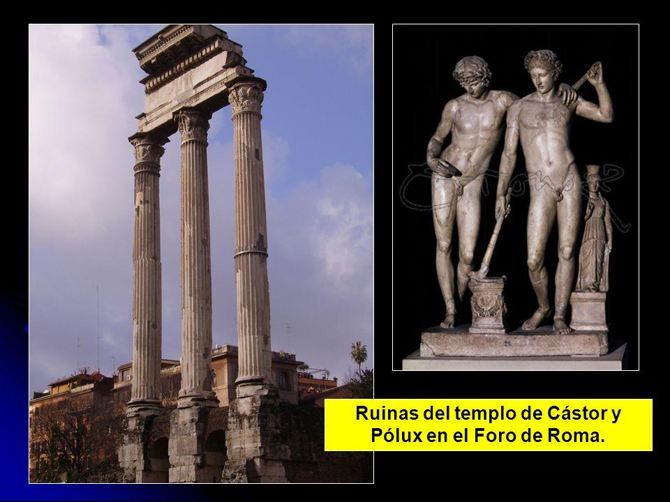 Ruinas del templo de Cástor y Pólux en el Foro de Roma.