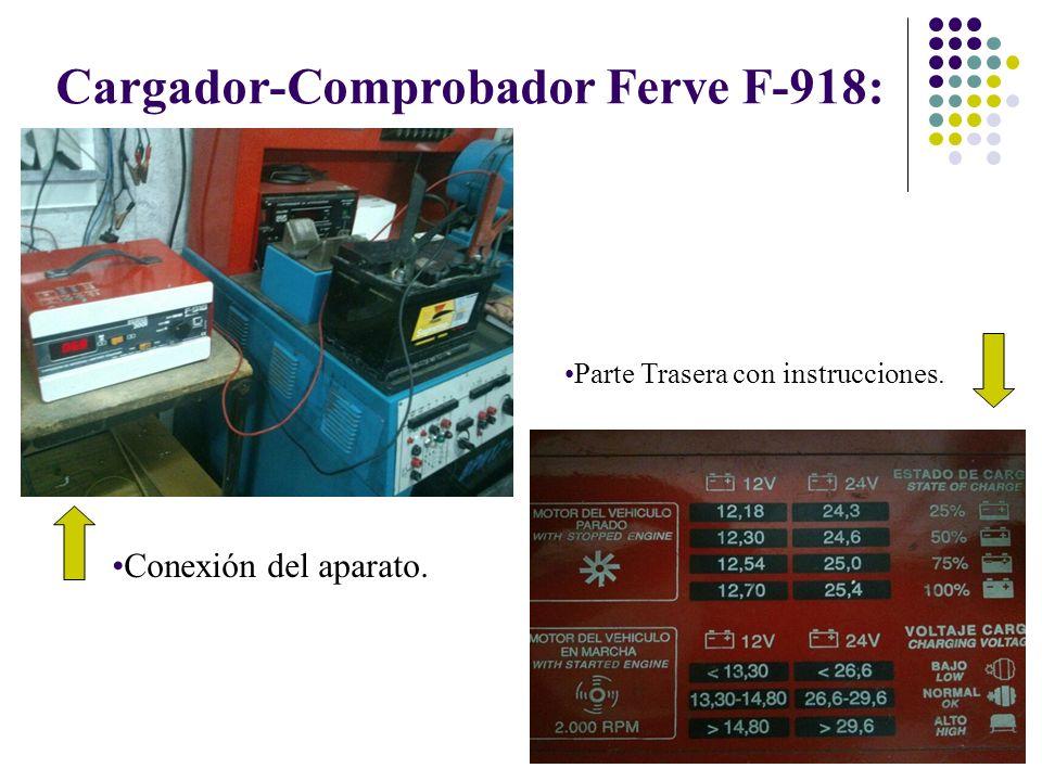 Cargador-Comprobador Ferve F-918: Conexión del aparato. Parte Trasera con instrucciones.