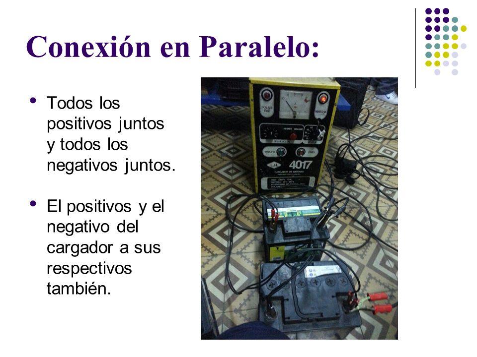 Conexión en Paralelo: Todos los positivos juntos y todos los negativos juntos. El positivos y el negativo del cargador a sus respectivos también.