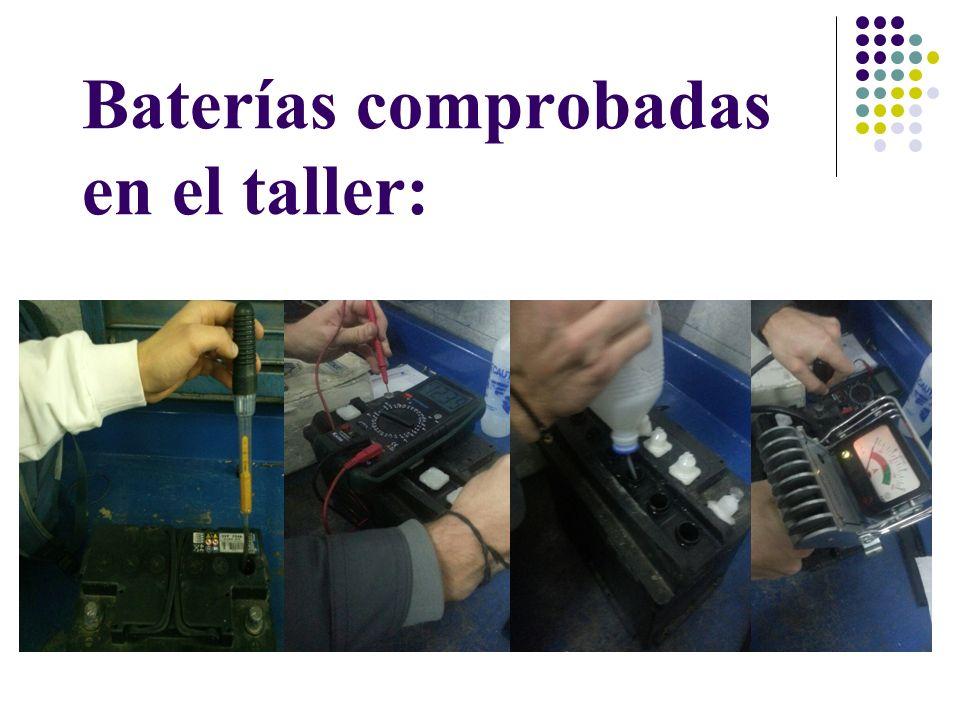 Batería 1: Características: 680A 79Ah 12v Medición con el polímetro: 12,11v Comprobador de descarga rápida: 9v Comprobación de medida con el densímetro: Vaso 1: 1,16 g/cm3 al 12% de carga Vaso 2: 1,16 g/cm3 al 12% de carga Vaso 3: 1,16 g/cm3 al 12% de carga Vaso 4: 1,22 g/cm3 al 50% de carga Vaso 5: 1,16 g/cm3 al 12% de carga Vaso 6: 1,16 g/cm3 al 12% de carga Necesitaba una carga, estaba en muy mal estado, la pusimos a cargar y rellenamos dos vasos con agua destilada.