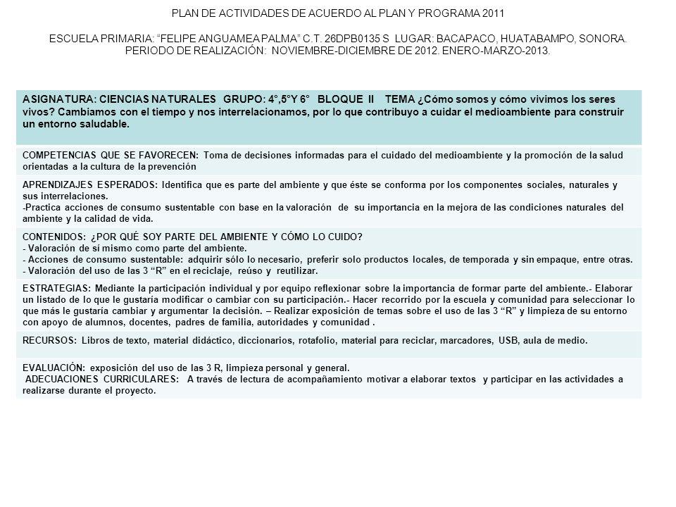 PLAN DE ACTIVIDADES DE ACUERDO AL PLAN Y PROGRAMA 2011 ESCUELA PRIMARIA: FELIPE ANGUAMEA PALMA C.T. 26DPB0135 S LUGAR: BACAPACO, HUATABAMPO, SONORA. P