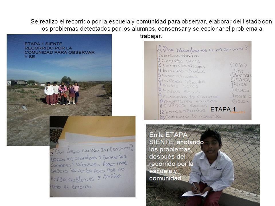 Se realizo el recorrido por la escuela y comunidad para observar, elaborar del listado con los problemas detectados por los alumnos, consensar y selec