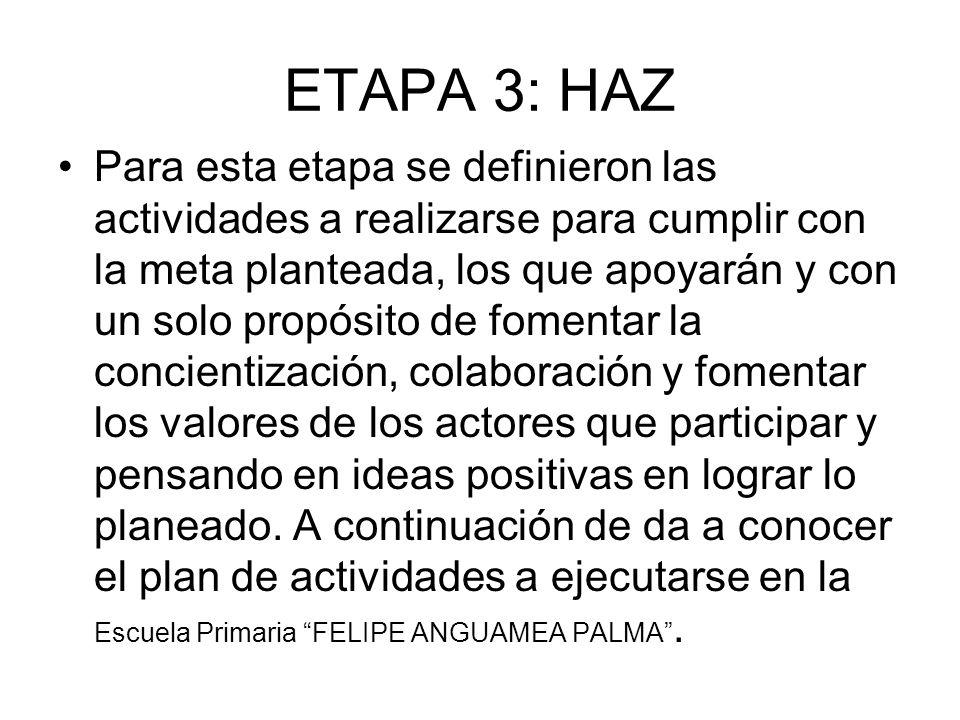 ETAPA 3: HAZ Para esta etapa se definieron las actividades a realizarse para cumplir con la meta planteada, los que apoyarán y con un solo propósito d