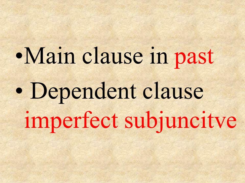 Main clause in past Dependent clause imperfect subjuncitve