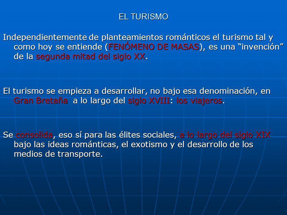 ORÍGENES Y FACTORES DEL DESARROLLO TURÍSTICO EN ESPAÑA EL DESARROLLO DEL TURISMO EN ESPAÑA, IMPLANTADO EN FECHAS TEMPRANAS ( AÑOS 50), ES EL RESULTADO DE LA CONFLUENCIA DE UNA SERIE DE FACTORES A)Crecimiento de las economías europeas tras la II Guerra Mundial, el consiguiente incremento de las rentas de los trabajadores así como su capacidad de consumo de bienes materiales y servicios.