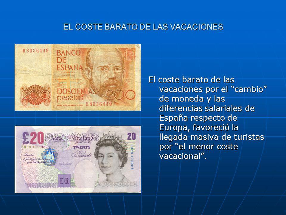 EL COSTE BARATO DE LAS VACACIONES El coste barato de las vacaciones por el cambio de moneda y las diferencias salariales de España respecto de Europa,