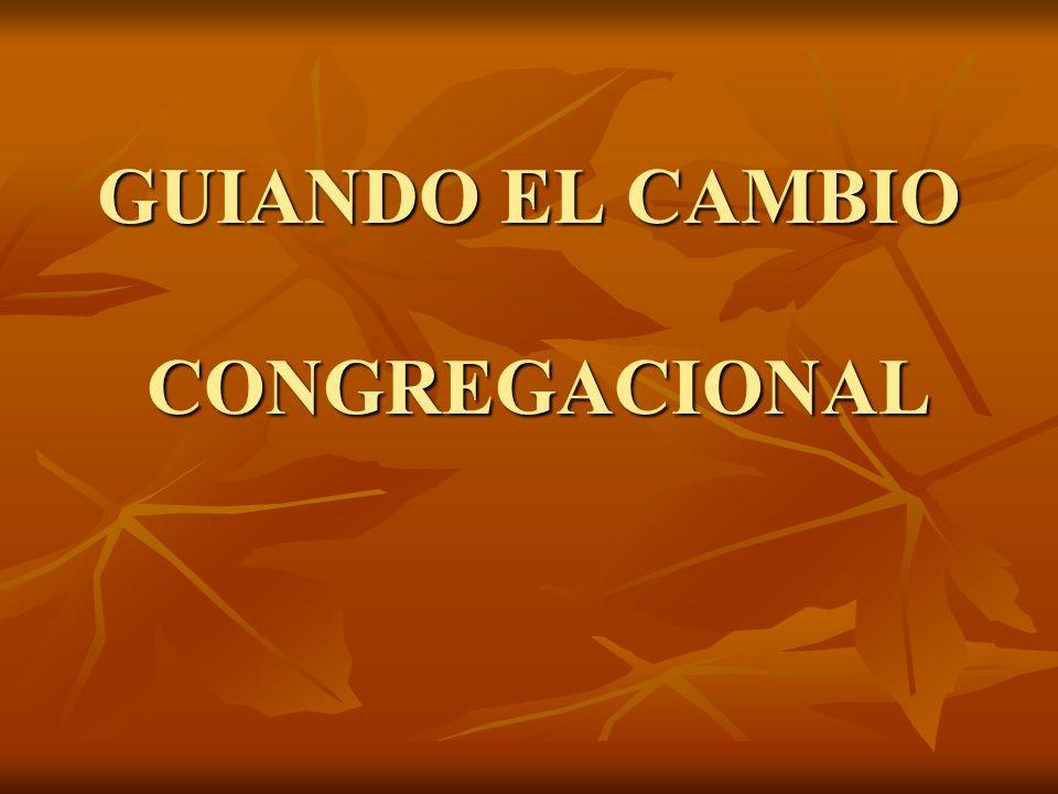 PANORAMA DE LA TRANSFORMACION CONGREGACIONAL De la situacion actual, a la ideal
