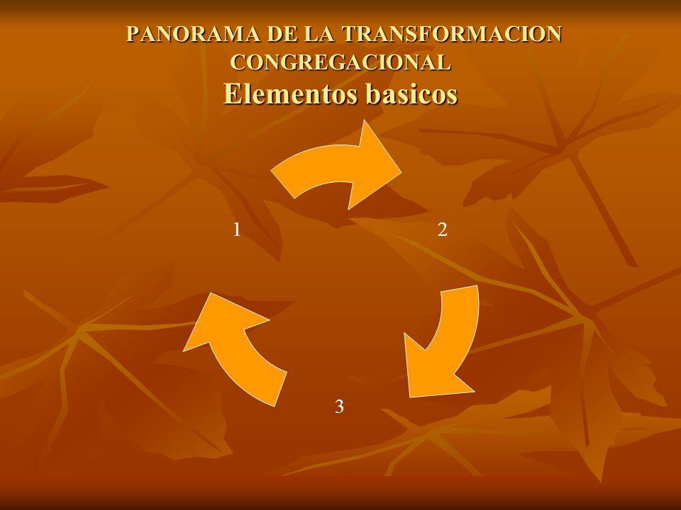 PANORAMA DE LA TRANSFORMACION CONGREGACIONAL Elementos basicos PANORAMA DE LA TRANSFORMACION CONGREGACIONAL Elementos basicos 2 3 1