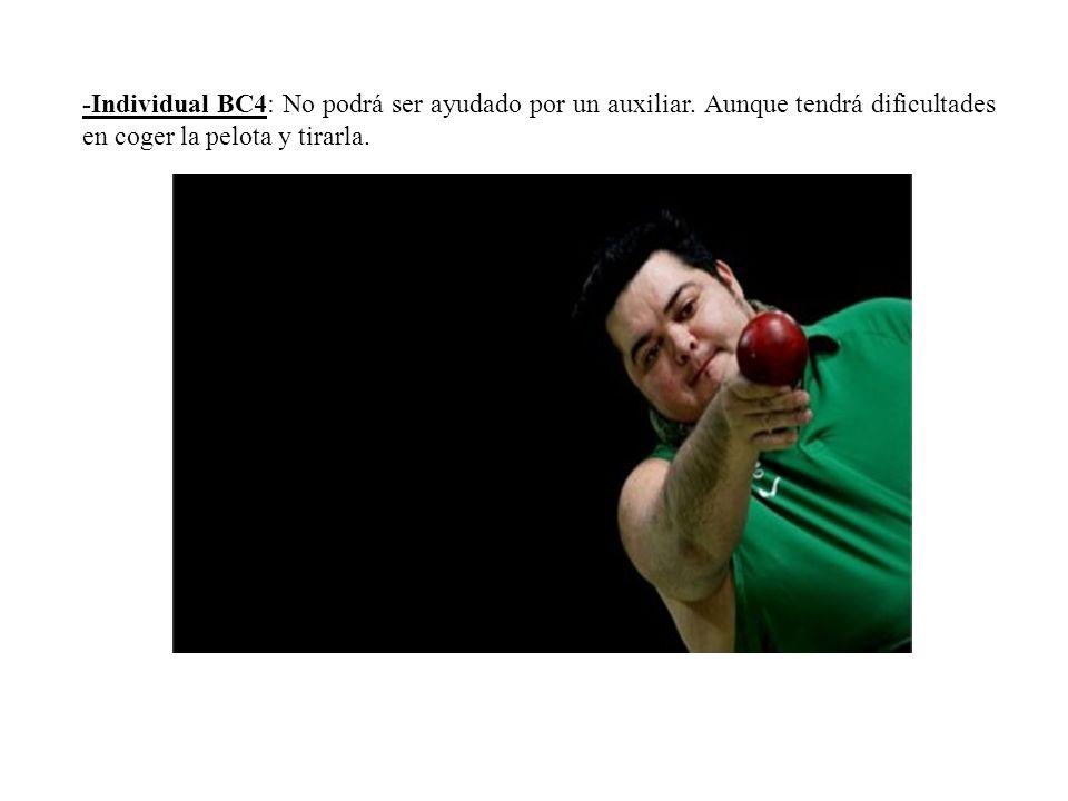 -Individual BC4: No podrá ser ayudado por un auxiliar. Aunque tendrá dificultades en coger la pelota y tirarla.