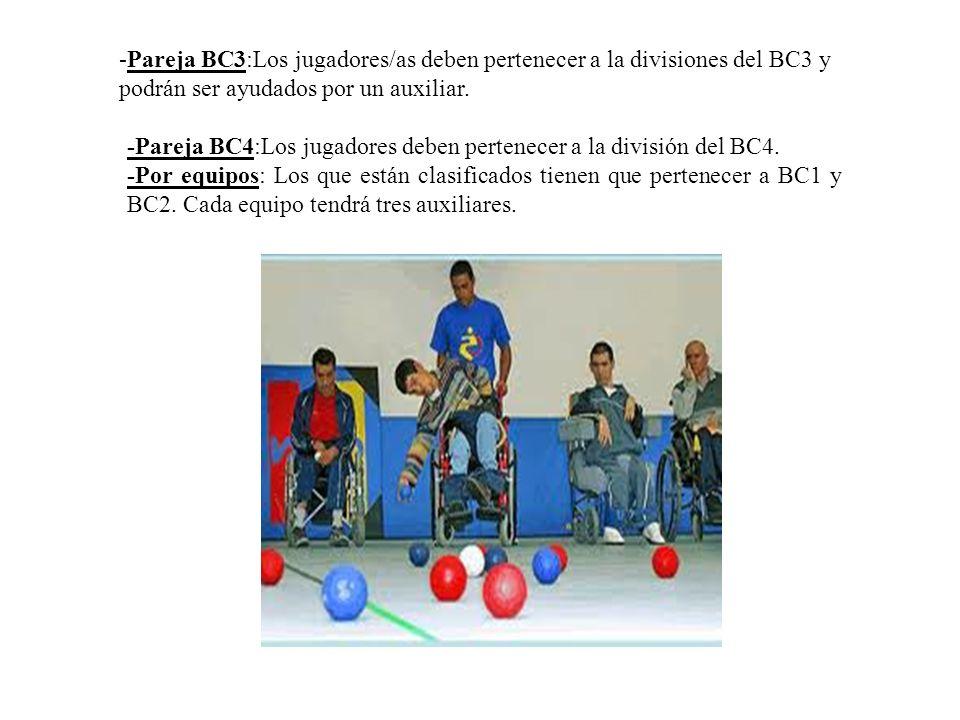 -Pareja BC3:Los jugadores/as deben pertenecer a la divisiones del BC3 y podrán ser ayudados por un auxiliar. -Pareja BC4:Los jugadores deben pertenece